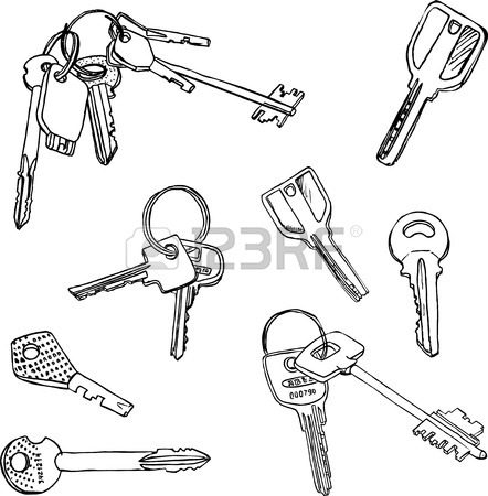 442x450 Set Of Different Keys, Collection Of Various Keys, Drawn