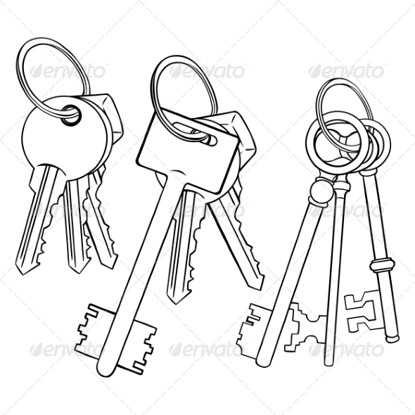 590x590 Vector Set Of Lineart Bunches Of Keys Black Cartoon, Icon
