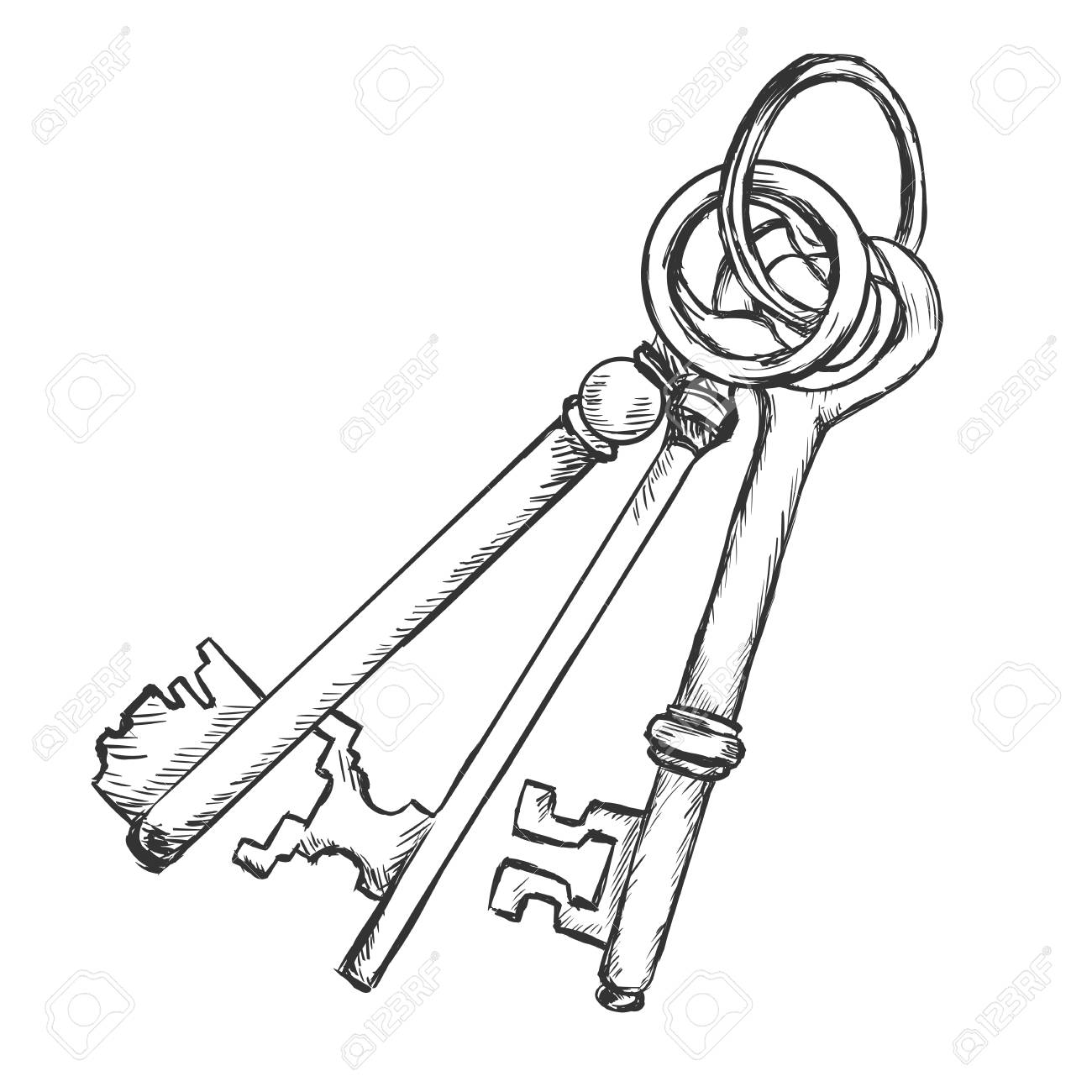 1300x1300 Vector Sketch Bunch Of Three Antique Keys On White Background