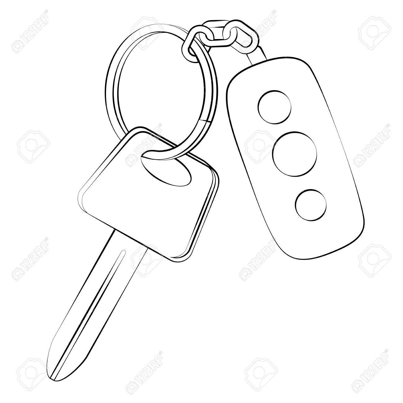 1300x1300 Black Outline Vector Car Key On White Background. Royalty Free