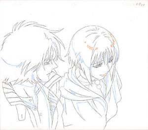 300x264 Wolf's Rain Anime Douga Drawing For Cel Kiba Amp Cheza Bones Studio