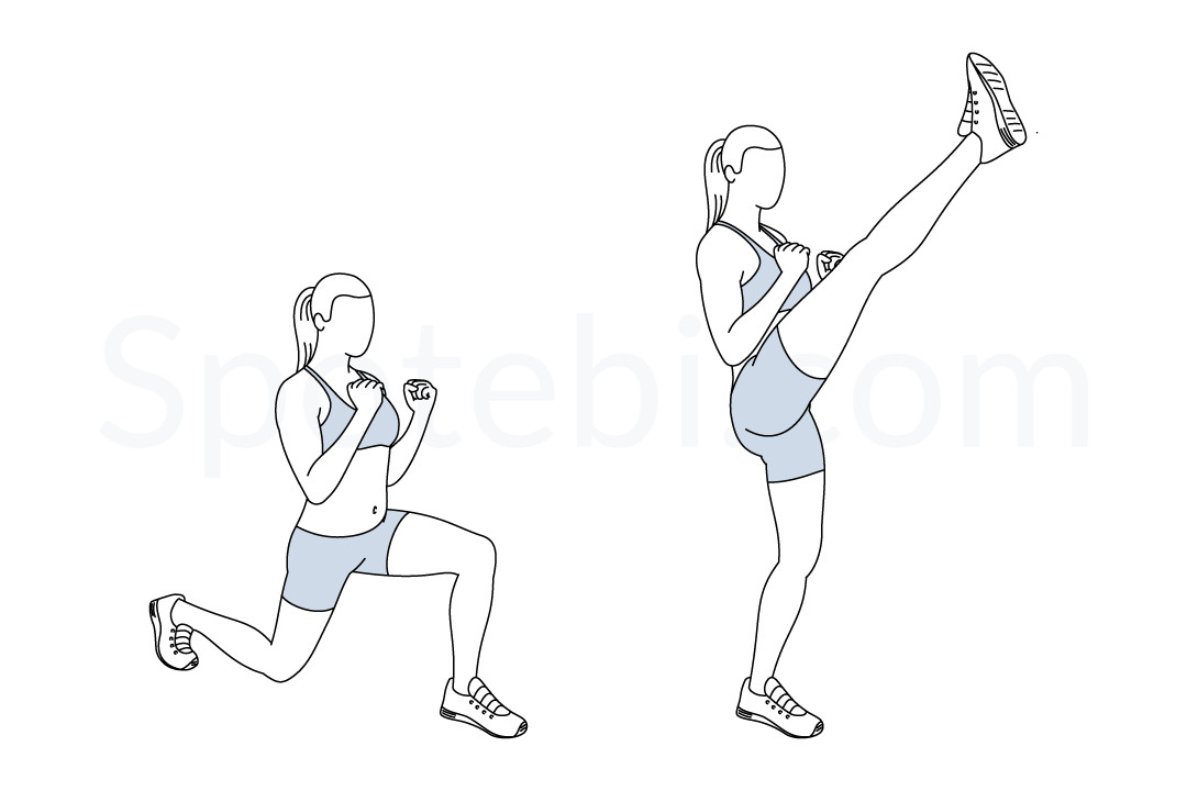 1080x720 Lunge Kicks Illustrated Exercise Guide