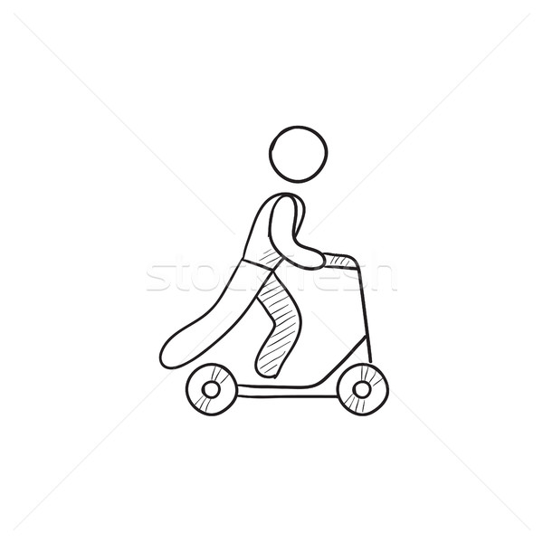 600x600 Man Riding Kick Scooter Sketch Icon. Vector Illustration Andrei