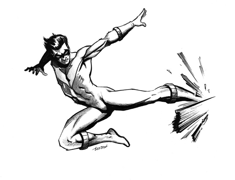 800x615 Nightwing Flying Kick By Lostonwallace