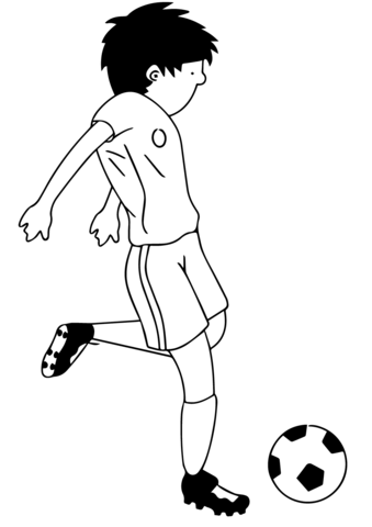339x480 Cartoon Soccer Player Kicking Ball Coloring Page Free Printable