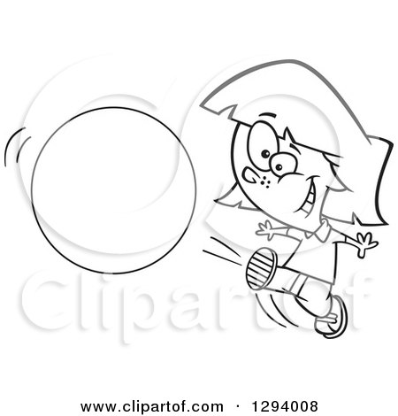 450x470 Lineart Clipart Of Blacknd White Cartoon Happy Girl Kicking