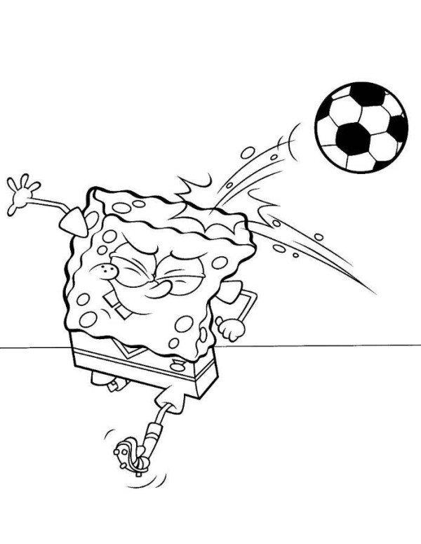600x775 Spongebob Squarepants Heading Ball Coloring Page