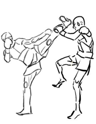 337x436 Kickboxing Sketch 1 By Lady Cybercat