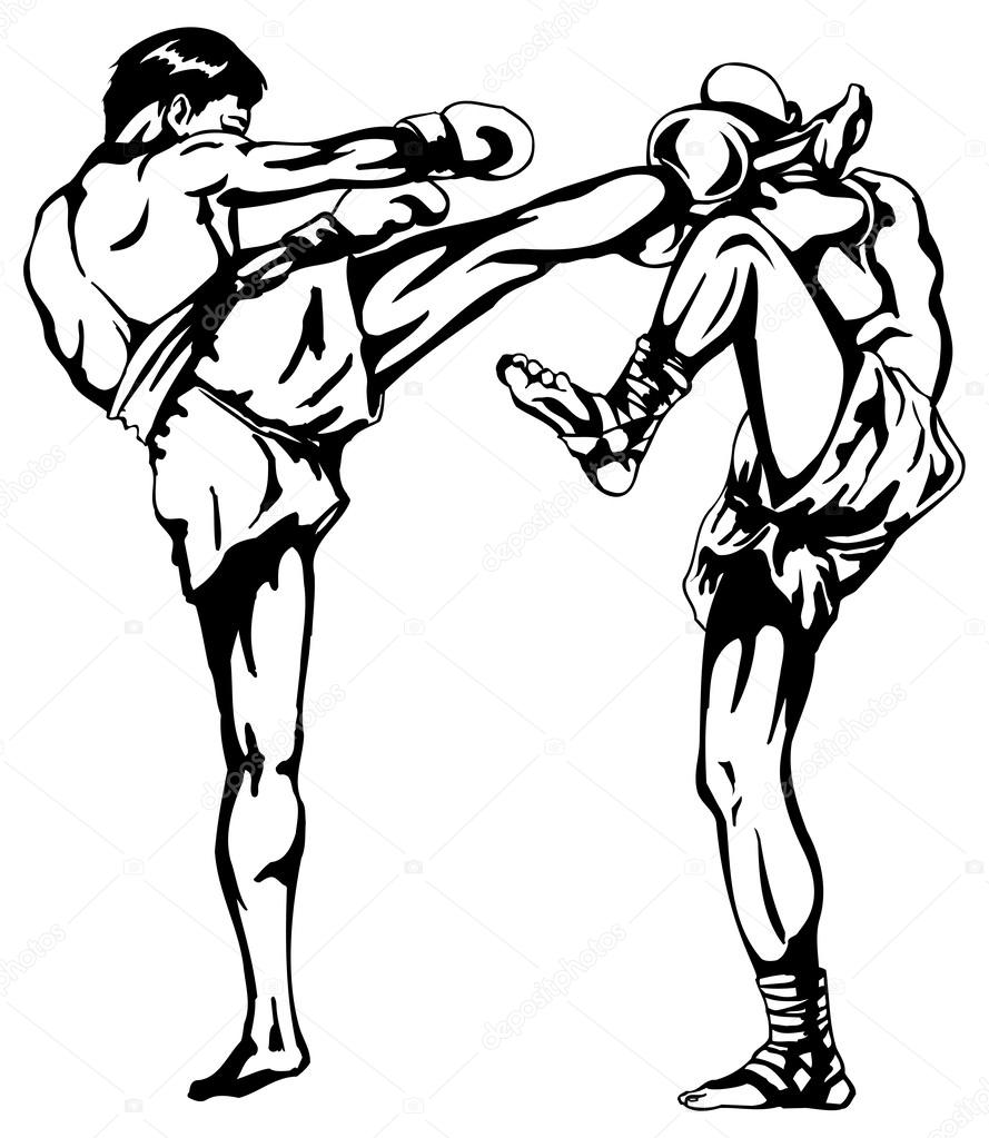 muay thai coloring pages | Kickboxing Drawing at GetDrawings.com | Free for personal ...