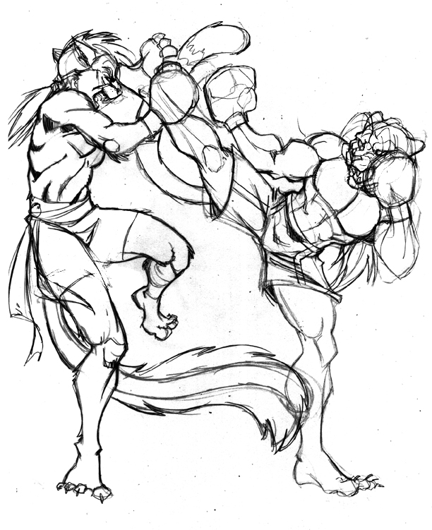 612x751 Kickboxing Sketch 2 By Lady Cybercat