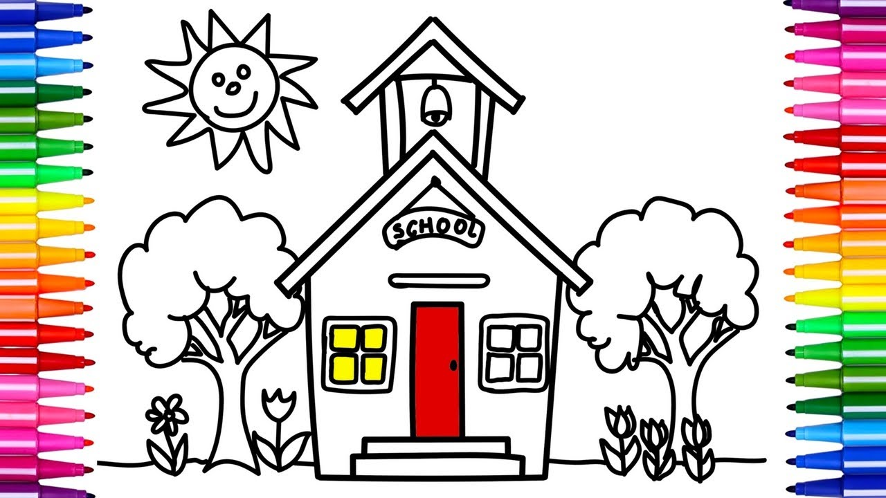 1280x720 How To Draw School Coloring Pages For Kids