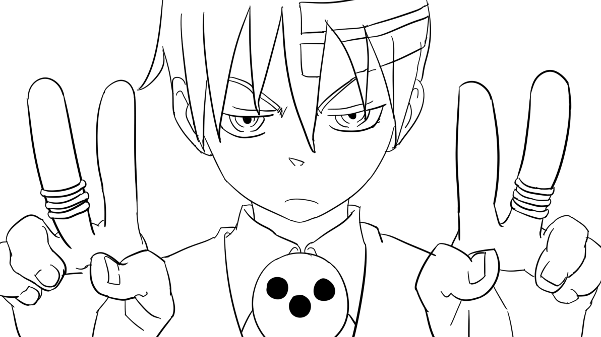 contemporary soul eater coloring pages death the kid composition
