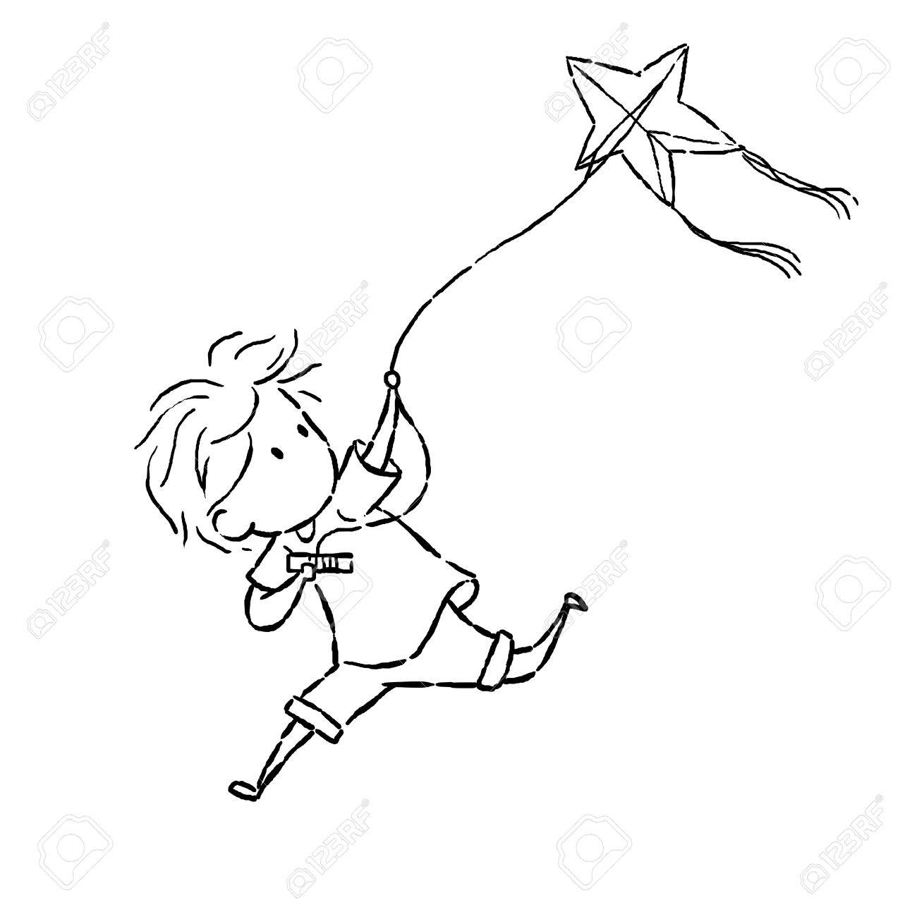 1300x1300 Image Drawing Cartoon Style Of Kid Kiting Stock Photo, Picture