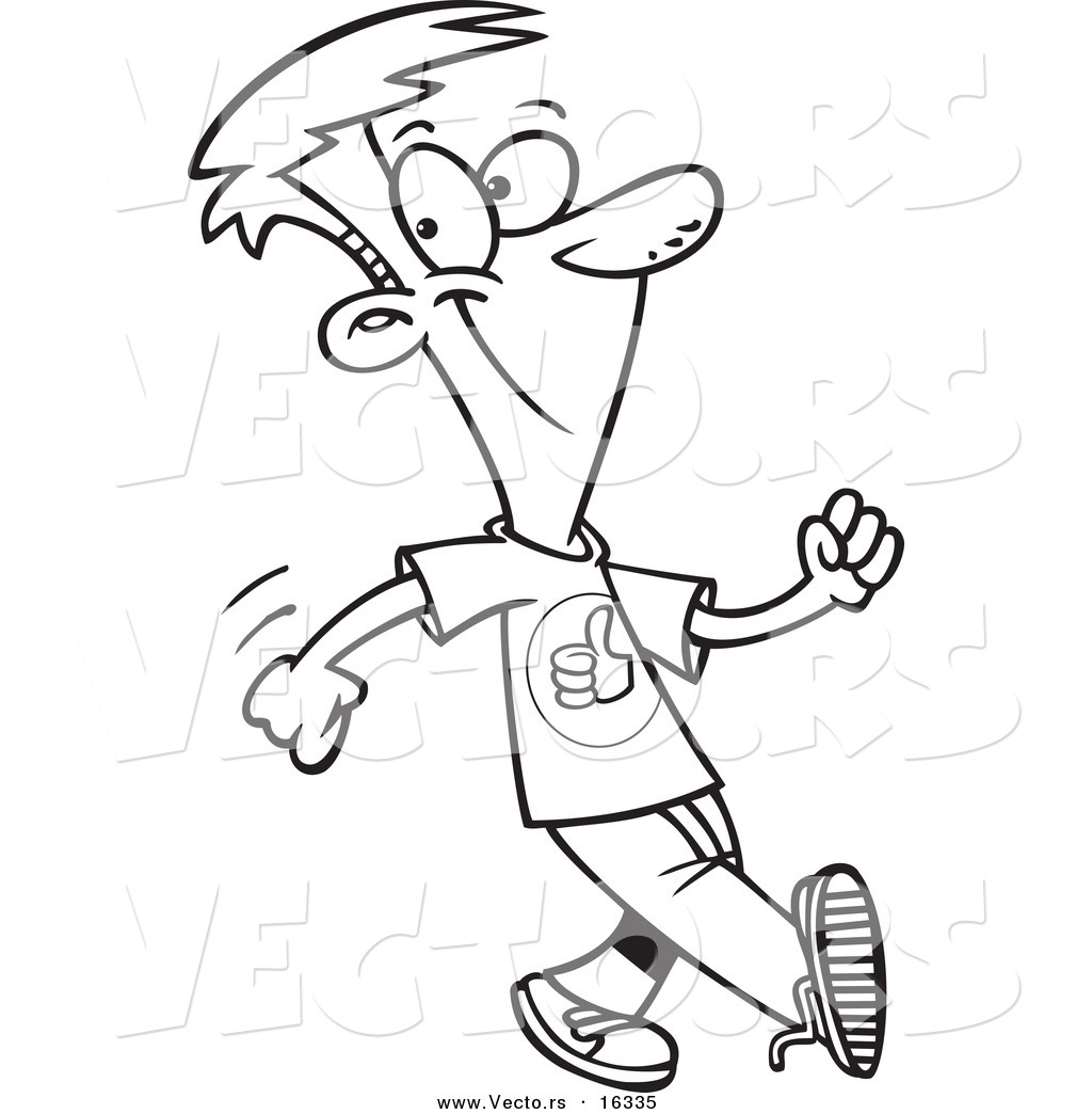 1024x1044 Vector Of A Cartoon Boy Walking With A Good Attitude