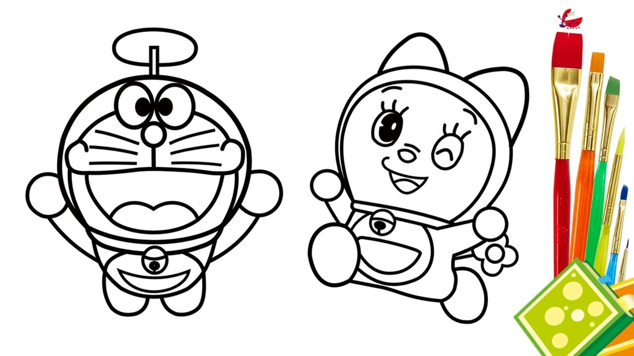 1280x720 How To Draw Doraemon And Dorami Coloring Page For Kid Drawing