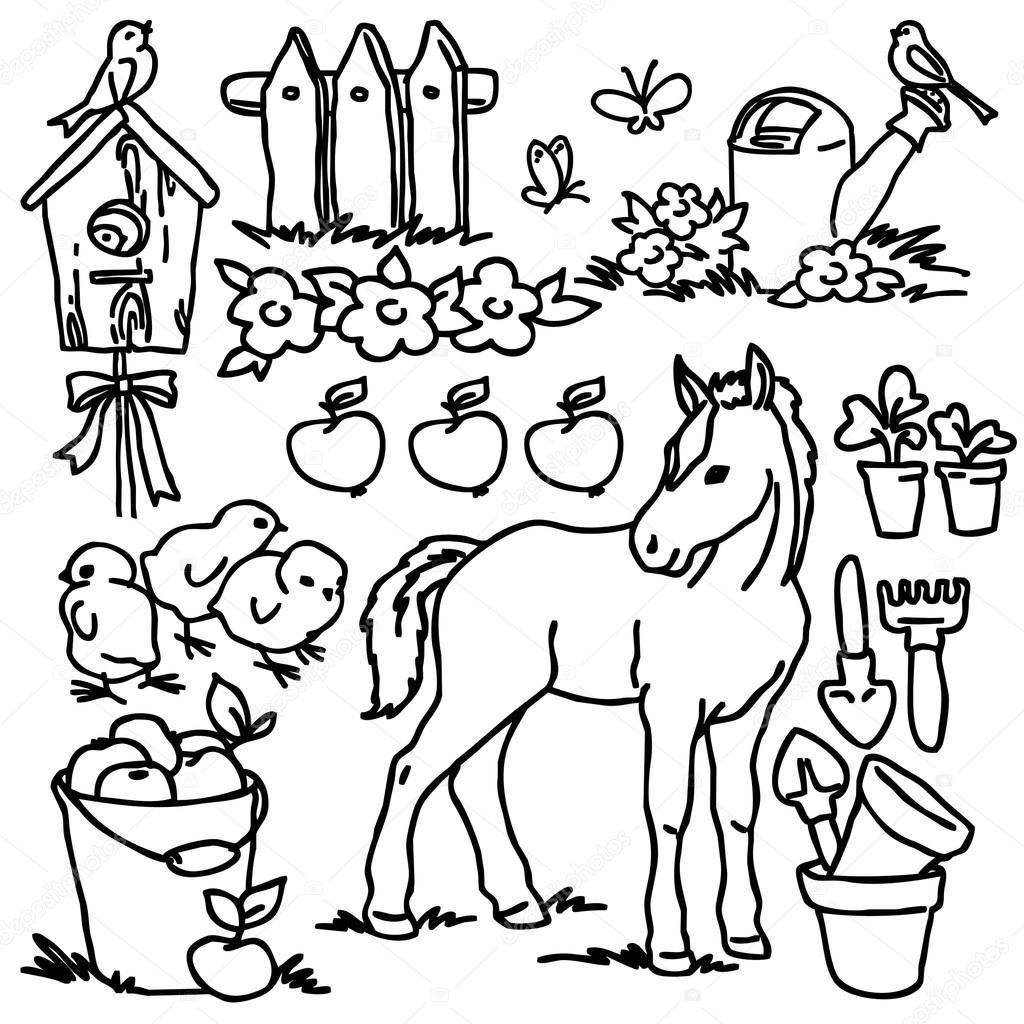 1024x1024 Coloring Book, Cartoon Farm Animals, Vegetables, Fruits