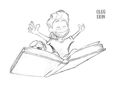400x300 Happy Kid Flying On A Big Book Sketch By Oleg Erin