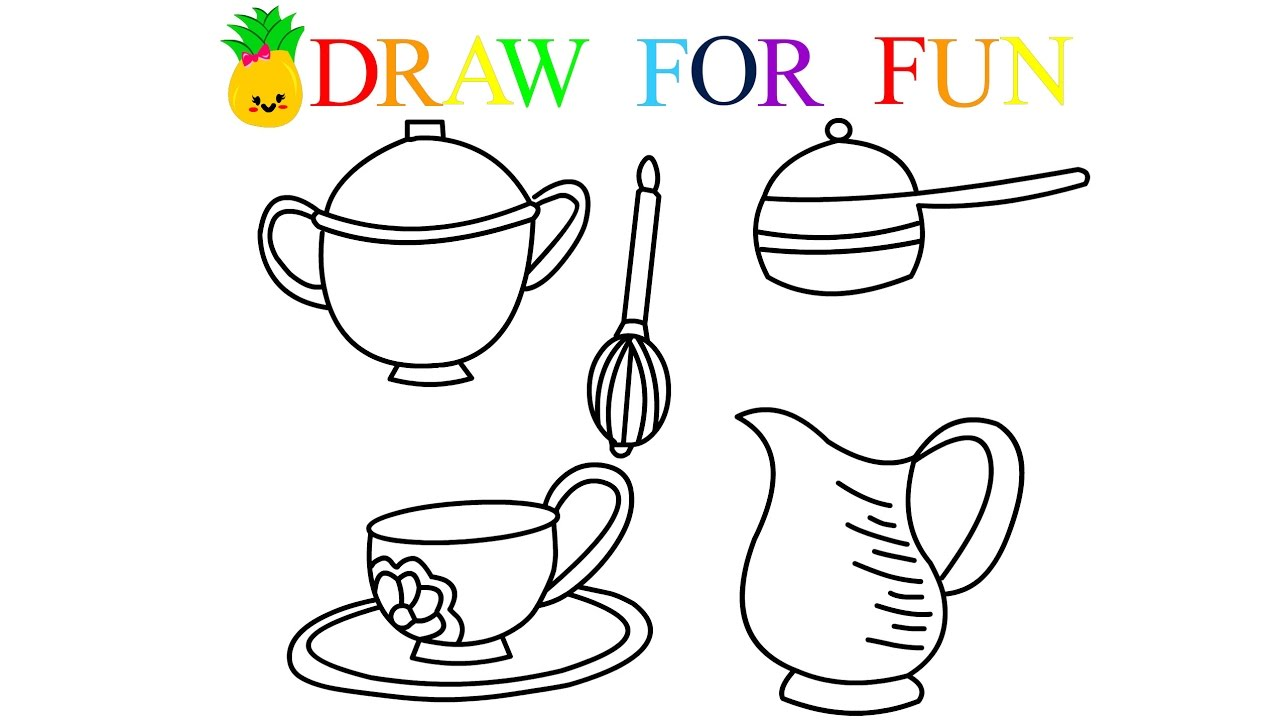 1280x720 How To Draw Kitchen Set For Baby Coloring Pages For Kids Art