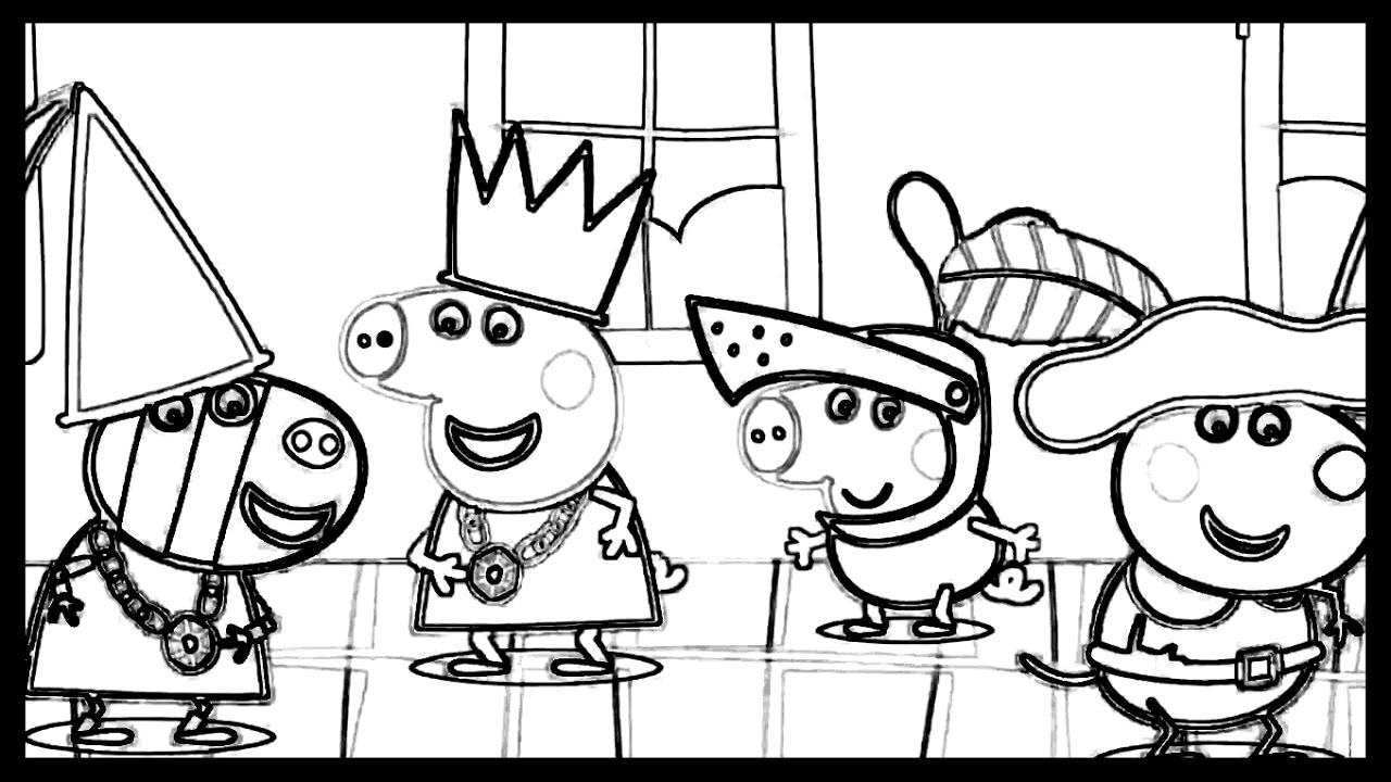 1280x720 Peppa Pig In A Castle With Friends Coloring Book Pages Drawing