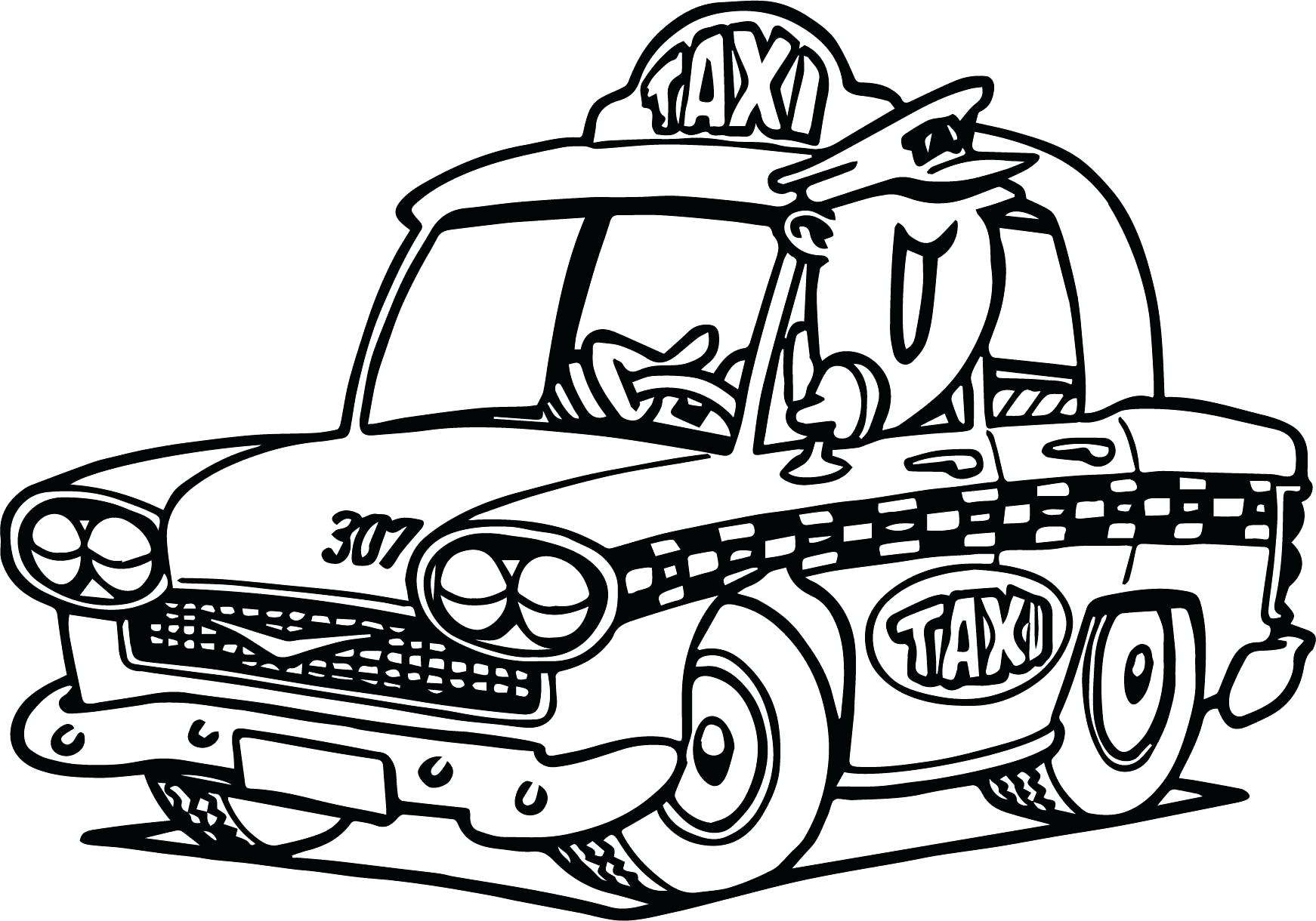 1742x1220 Coloring Cars Cartoon Coloring Pages Taxi Transportation For Kids