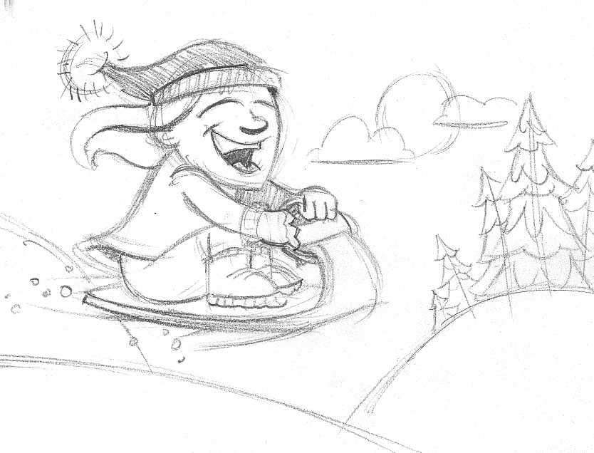 834x636 Morning Sketch Sledding The Year Away Jeremy R. Scott
