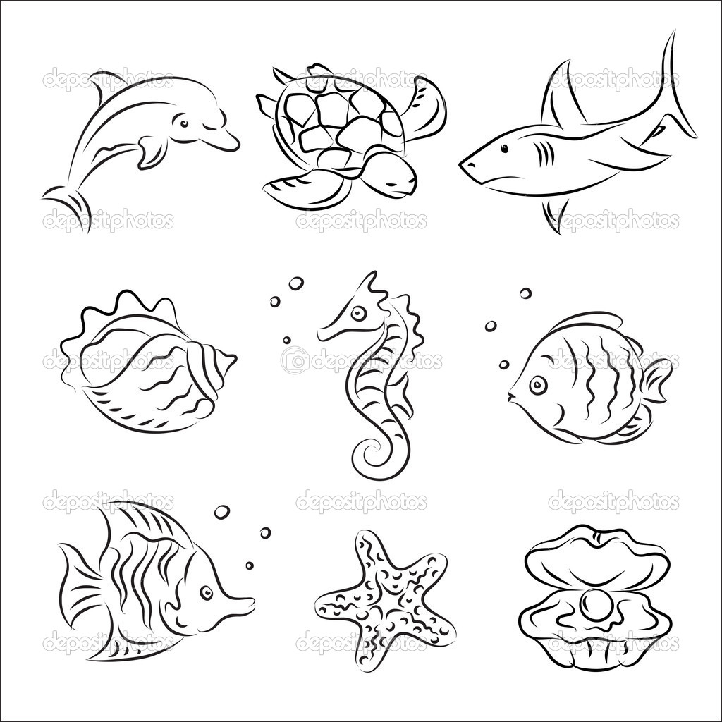 1024x1024 Ocean Animals Drawings Weekly Printable Coloring Pages For Kids