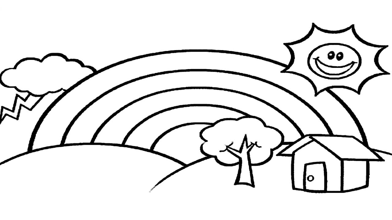 1280x720 Coloring Pages Rainbow House