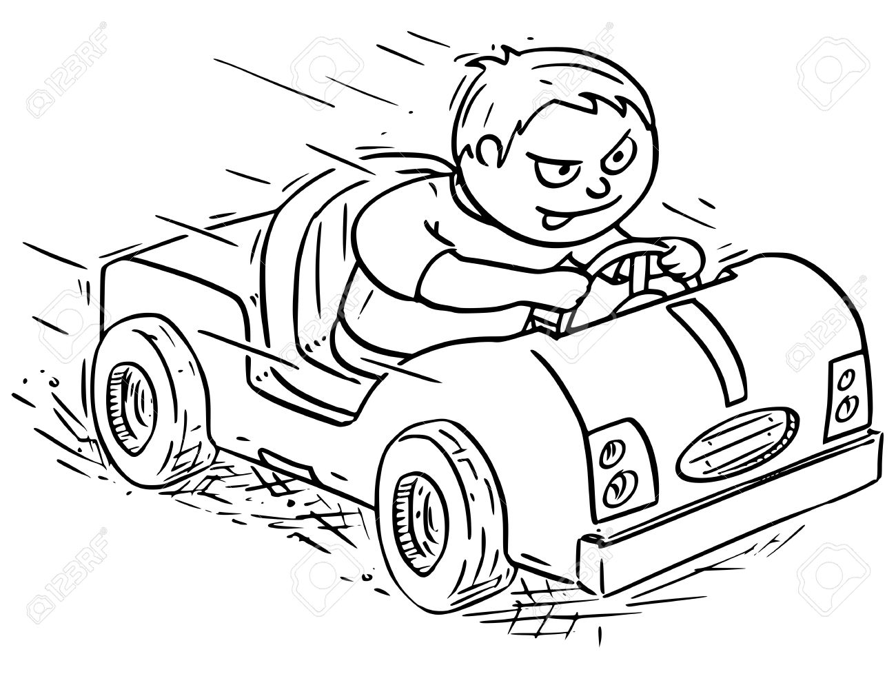 1300x994 Hand Drawing Vector Cartoon Of A Boy Driving Pedal Or Battery