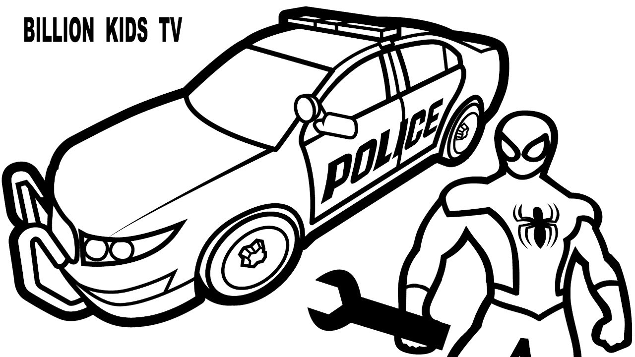 1280x720 Police Car Drawing And Coloring Page Colouring Book New Pages
