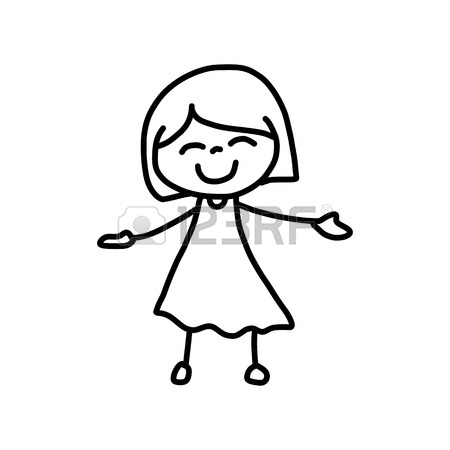 450x450 Hand Drawing Cartoon Character Happy Kids Playing Royalty Free