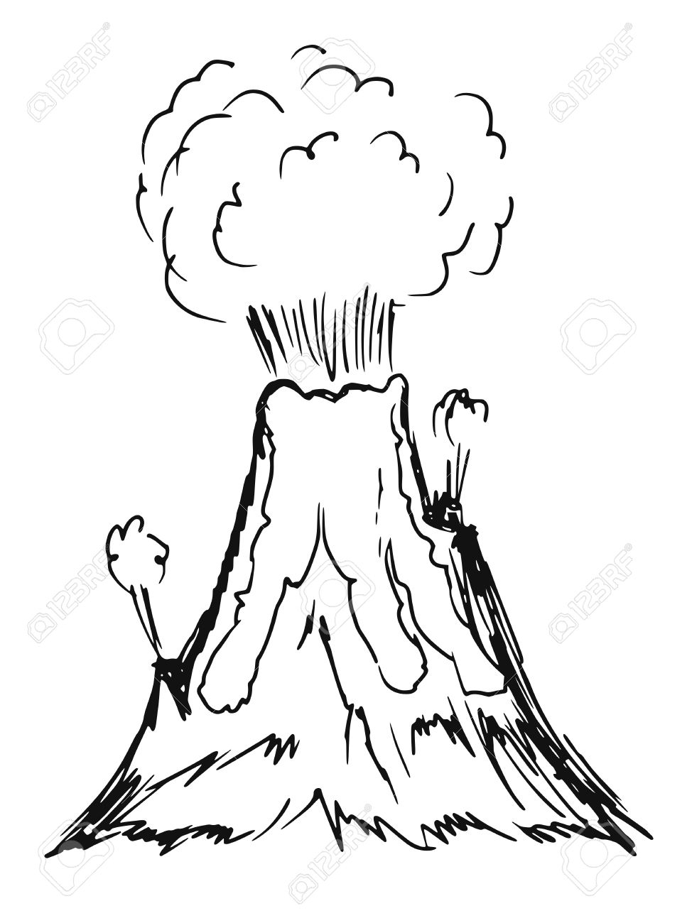 974x1300 Volcano Cartoon Drawing How To Draw A Volcano Easy Stepstep