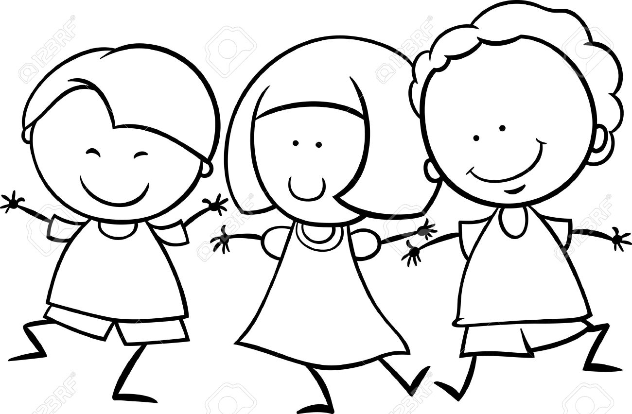 1300x852 Black And White Cartoon Illustration Of Cute Happy Multicultural