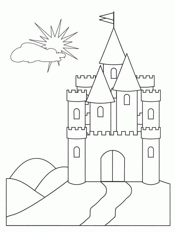 600x792 Medieval Castle, Medieval Castle Front Face Coloring Page