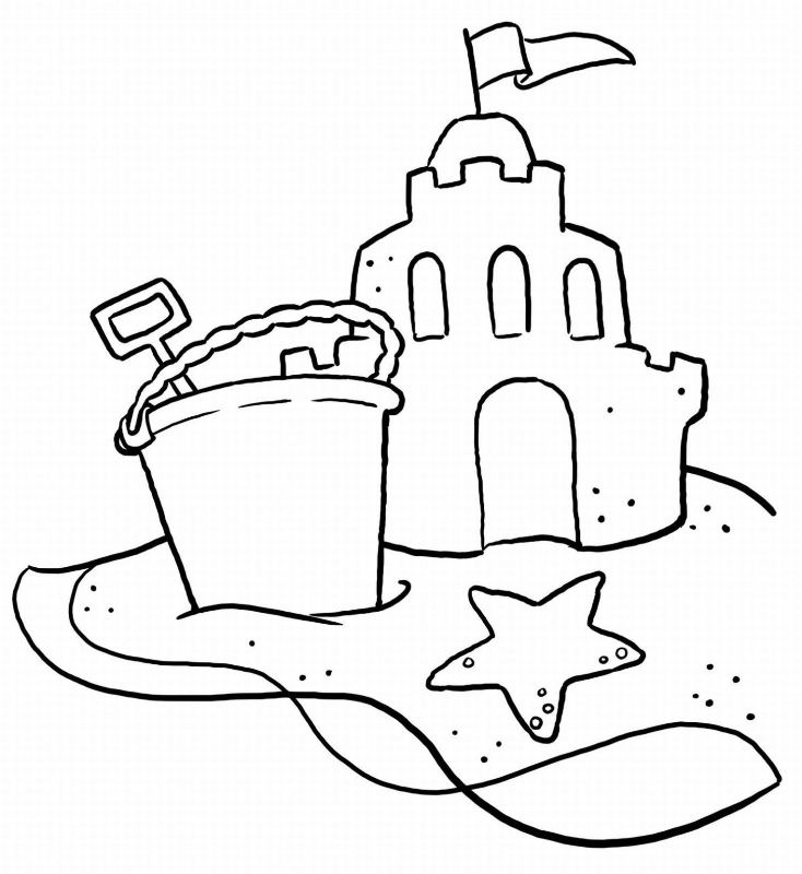 734x800 Beautiful Sand Castle Coloring Page Beach Pages