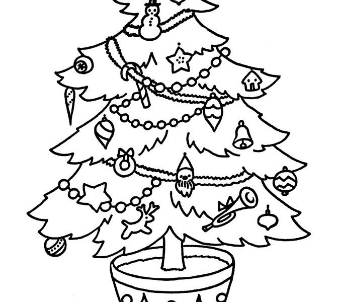 670x600 Christmas Tree Drawing For Coloring Coloring Pages