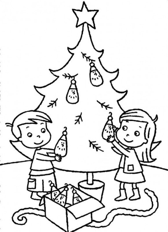 580x798 santa and kids decorating christmas tree coloring pages for tiny