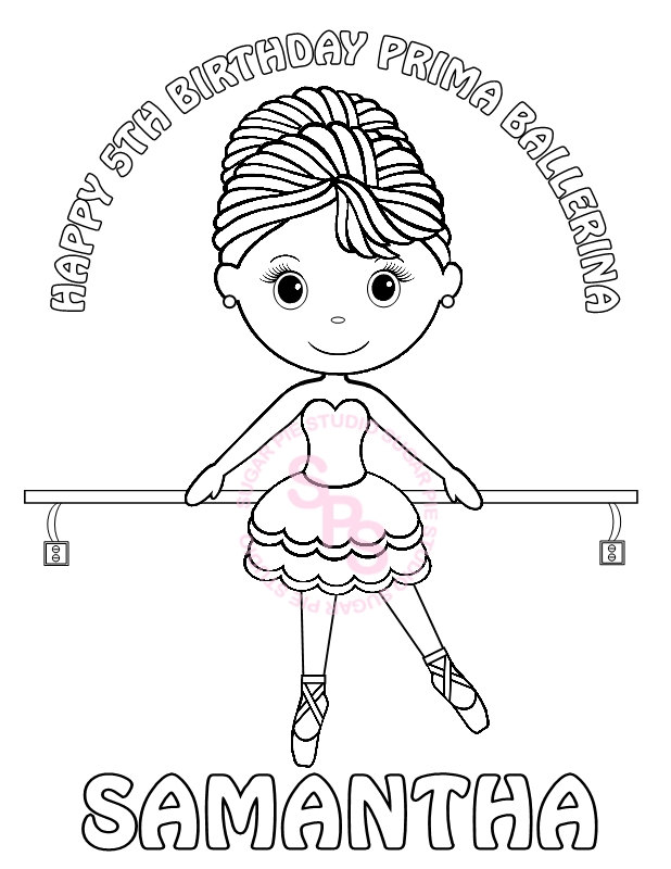 618x800 Personalized Printable Ballerina Dance Birthday Party Favor