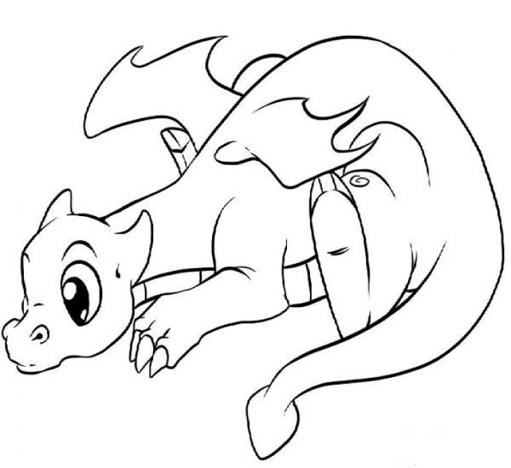 730x669 Lonely Little Dragon Kids Printable Coloring Page Free Fantasy