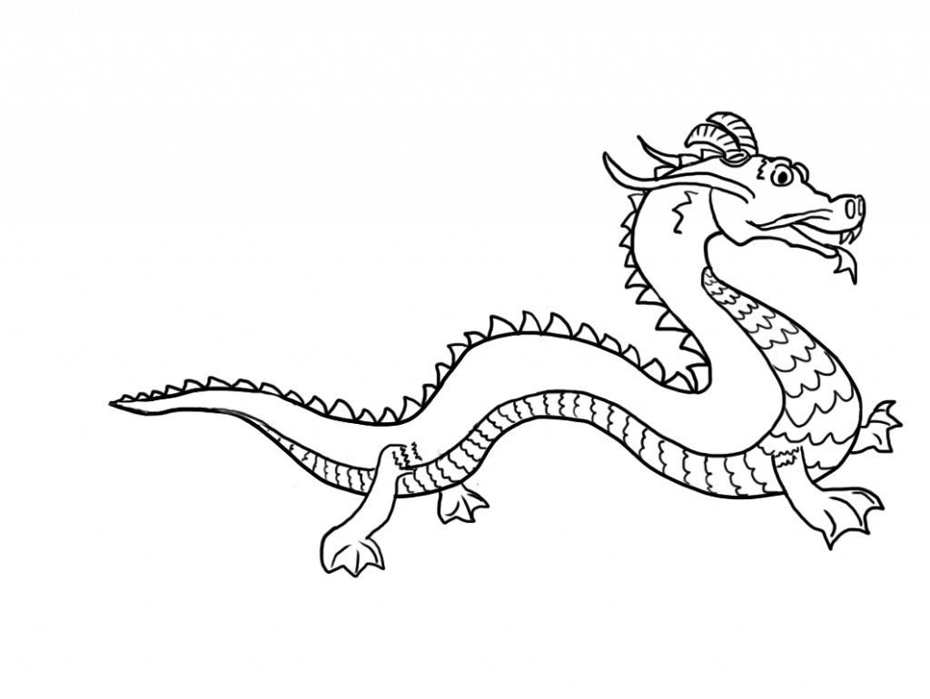 1024x770 Simple Chinese Dragon Drawing 4. How To Draw A Chinese Dragon Easy
