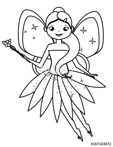 386x500 Coloring Page With Cute Flying Fairy Character. Drawing Kids Game