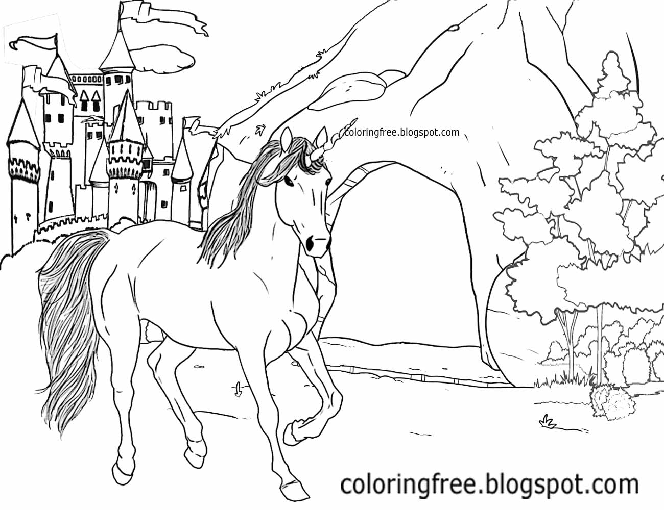 1300x1000 Printable Unicorn Drawing Mythical Coloring Book Pictures For Kids