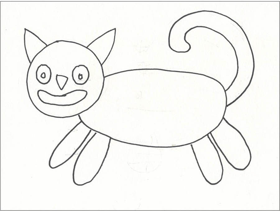 901x679 Folk Art Cat
