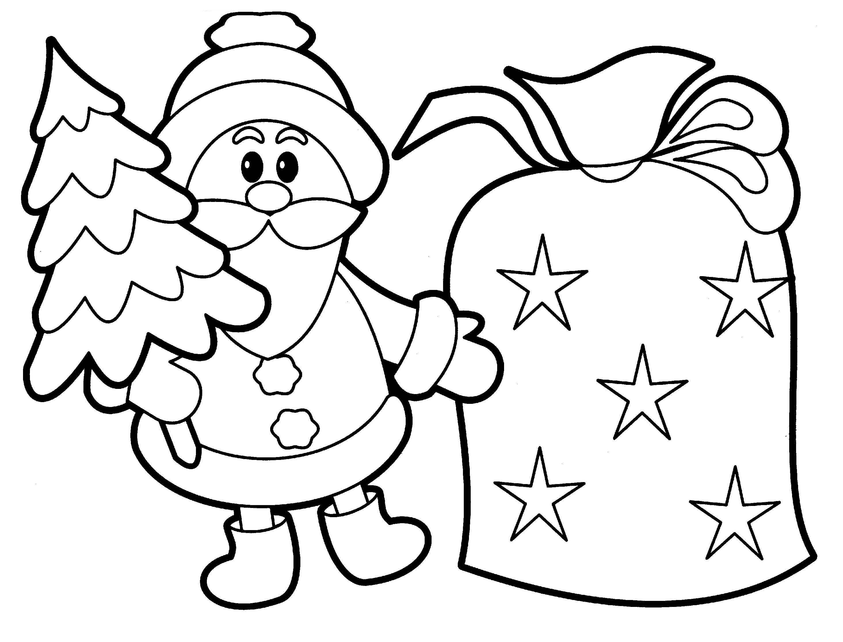 2930x2232 Easy Christmas Coloring Pages For Kids And