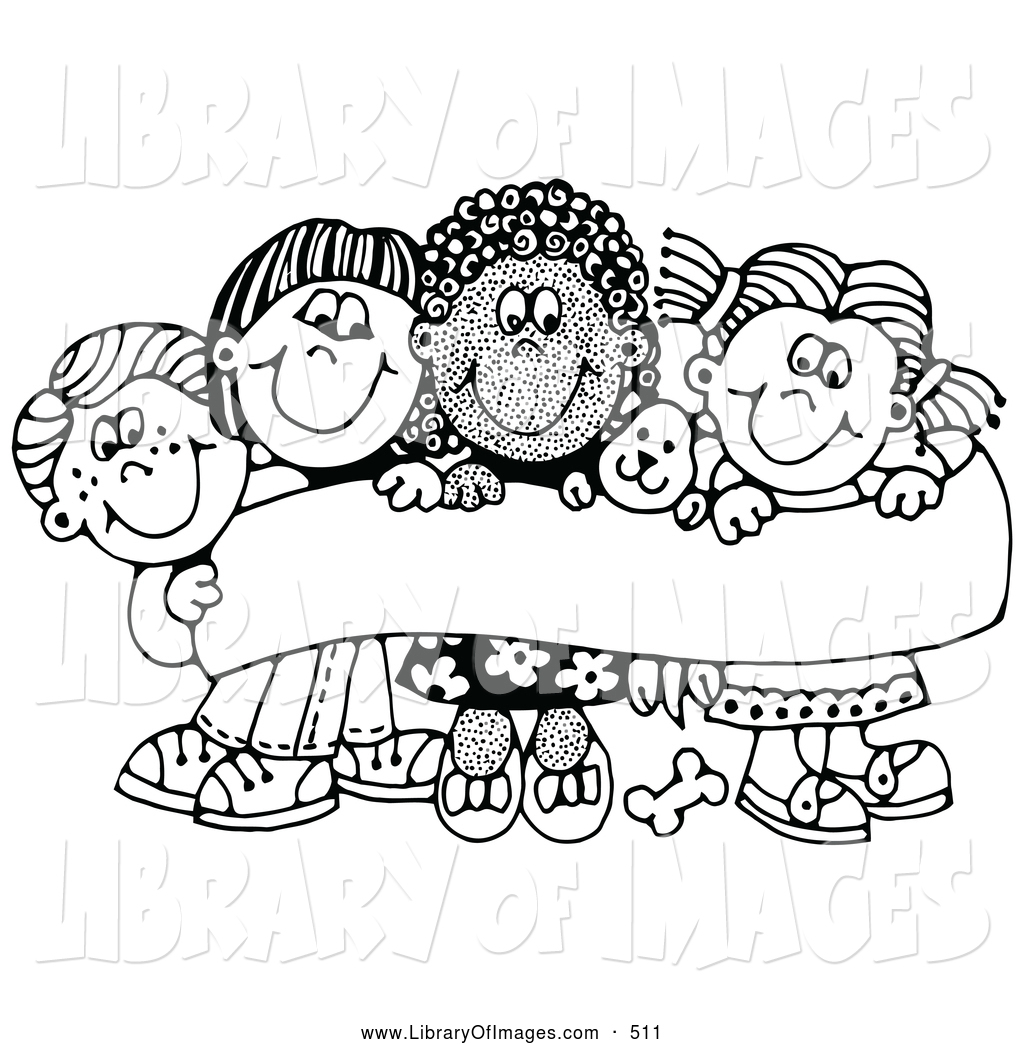1024x1044 Clip Art Of A Coloring Page Of Four Caucasian And African American