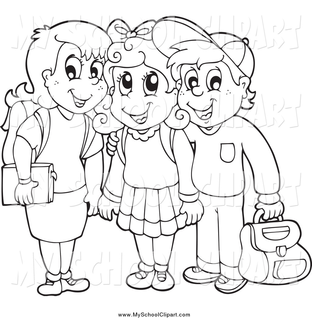 1024x1044 Clip Art Of A Lineart Of Three School Children Smiling By Visekart