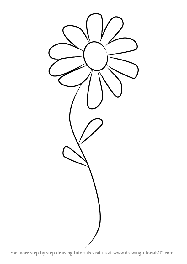 596x843 Learn How To Draw A Flower For Kids (Flowers) Step By Step