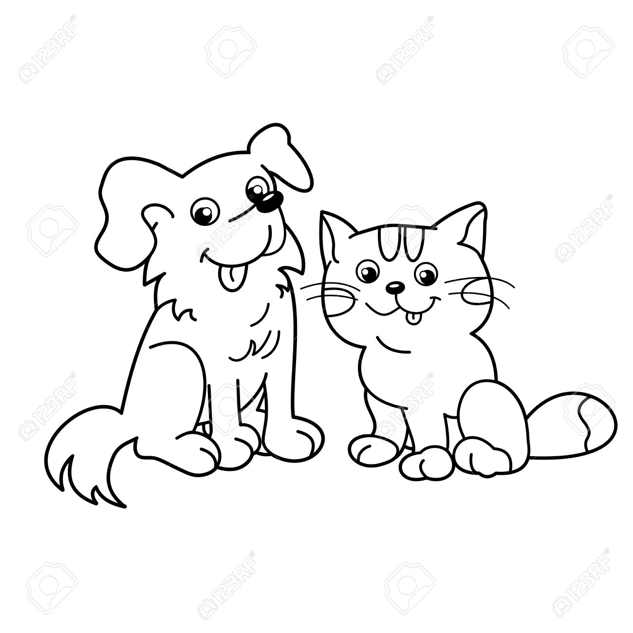 1300x1300 Coloring Page Outline Of Cartoon Cat With Dog. Pets. Coloring