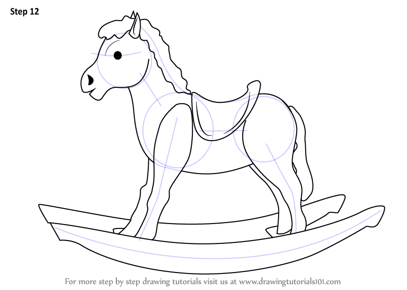840x598 Step By Step How To Draw Rocking Wooden Horse For Kids