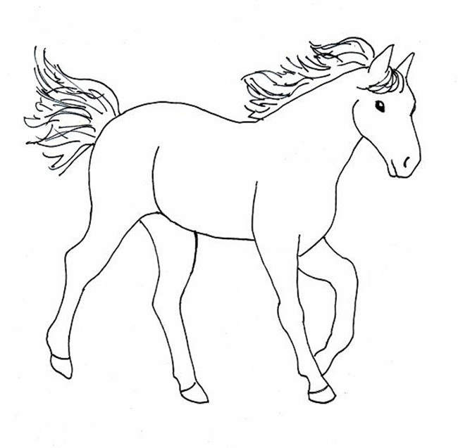 650x637 Coloring Pages Horse Drawing For Kids How To Draw A Ver 2 Step 9