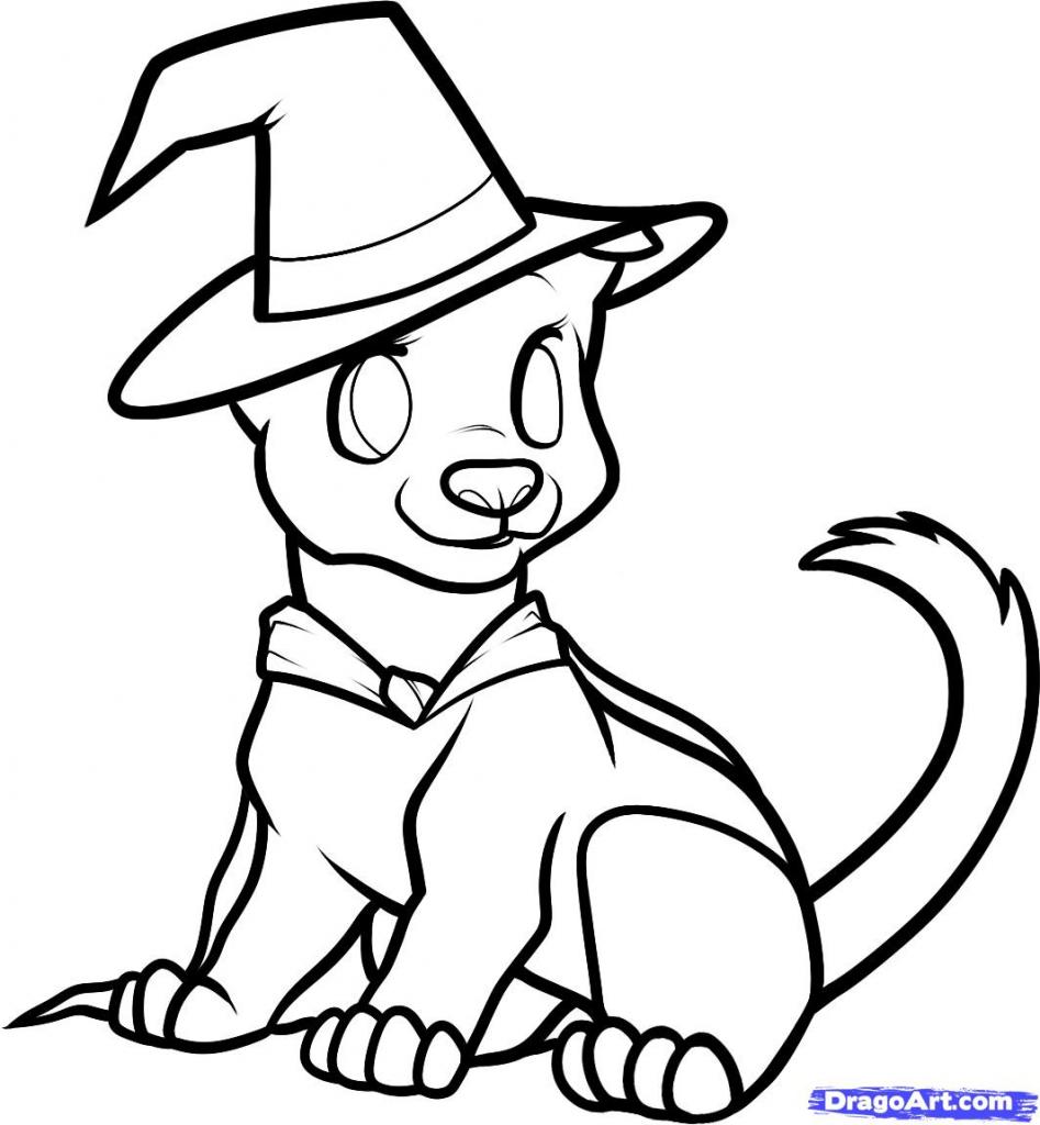 947x1024 Halloween ~ Halloween Cartoon Drawings How To Draw Dog Stepstep
